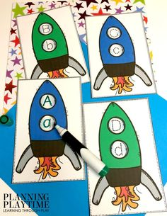 Space Theme Preschool - Planning Playtime - Planning Playtime - Space Theme Preschool - Planning Playtime Alphabet Activities for Preschool - Space Theme Letter Tracing - Preschool Learning Activities, Alphabet Activities, Language Activities, Preschool Worksheets, Space Activities For Preschoolers, Summer Worksheets, Name Crafts, Moon Crafts, Space Classroom