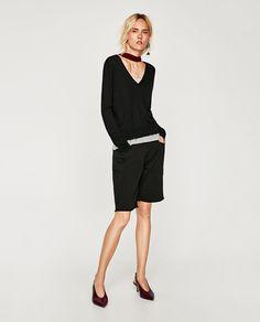 Image 1 of FRAYED V-NECK SWEATER from Zara
