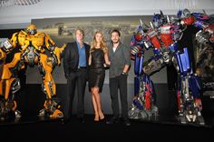 """Shia LaBeouf, Michael Bay and Rosie Huntington-Whiteley attend the """"Transformers: Dark of the Moon"""" in Osaka, Japan 2011"""