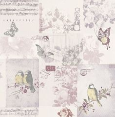 Songbird (11262) - Albany Wallpapers - A romantic shabby chic patchwork design with Songbirds, music sheets and butterflies. Shown here in lilac/purple - more colours are available. Please request a sample for true colour match.
