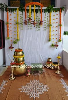 DecorbyKrishna is taking orders for eco-friendly home based events decor, like p. DecorbyKrishna i Diwali Decorations At Home, Marriage Decoration, Wedding Stage Decorations, Backdrop Decorations, Festival Decorations, Housewarming Decorations, Ganapati Decoration, Desi Wedding Decor, Mehndi Decor