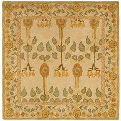 Safavieh Handmade Ancestral Tree Ivory/ Green Wool Rug (8' Square)