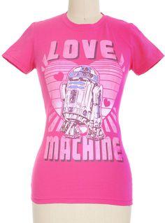 Love Machine Star Wars Tee | PLASTICLAND Nerd Geek Dork T-shirt Pink Hot Pink Pastel Grunge Kawaii R2D2 Ironic Hipster $24 Nerd Fashion