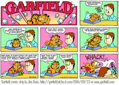 Garfield's bean-filled whack-bonk, thanks to Tim reminding me of it! Garfield Cat, Garfield Comics, Cartoon Jokes, Funny Jokes, Cartoons, Hilarious, Scratch My Back, Hagar The Horrible, Dead To Me