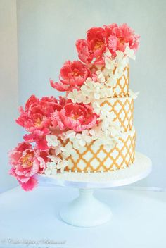 Wedding Cake Opened Peonies and Hydrangneas/Marvelous Molds - Cake by CakeStylist