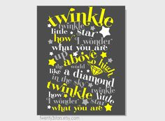 Twinkle Twinkle Little Star 8x10 Print for Nursery Wall Art, Perfect for a Boy or Girl, You Choose The Colors, Great Baby Shower Gift. $15.00, via Etsy.