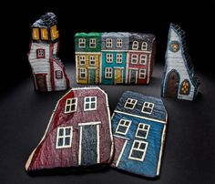 Crafts of Character - Newfoundland and Labrador Painted Driftwood, Driftwood Crafts, Stone Painting, House Painting, Rock Painting, Stone Houses, Rock Houses, Painted Rocks, Hand Painted