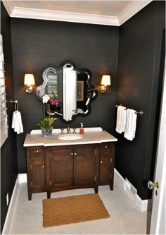 black grasscloth wallpaper in bathroom-Basement Bathroom- not wallpaper but dark color to match media room