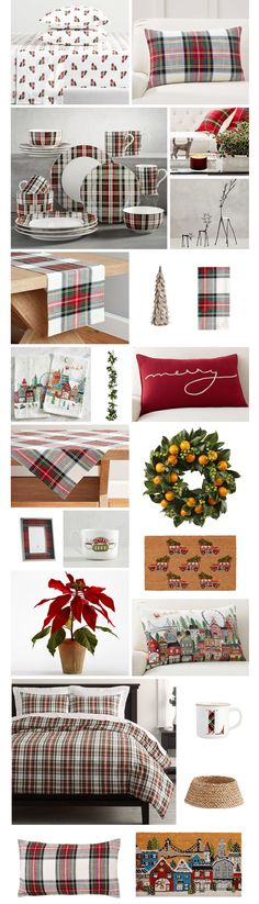 Christmas In The City, Plaid Christmas, Hale House, Letter Mugs, Pottery Barn Christmas, Plaid Bedding, Table Throw, Old Beds, Crate And Barrel
