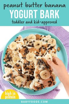 Your kids are going to love you so much when you serve up this  Peanut Butter Banana Frozen Bark! Super quick and easy to make, this frozen bark is perfect to serve as a summer snack, dessert, or even for a special breakfast! #frozenbark #yogurt #toddler #kids #snack Kitchen Recipes, Baby Food Recipes, Toddler Recipes, Toddler Snacks, Easy Cooking, Cooking Recipes, Ww Recipes, Delicious Recipes, Healthy Store Bought Snacks