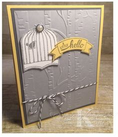 by Kathy: Badges & Banners, Woodland embossing folder, Best Badge punch, Duet Banner punch - all from Stampin' Up!