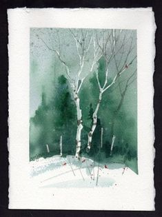 Billedresultat for Watercolor Christmas Cards Watercolor Pictures, Watercolor Trees, Watercolor Cards, Watercolor Landscape, Watercolour Painting, Landscape Paintings, Watercolors, Watercolor Artists, Watercolor Portraits