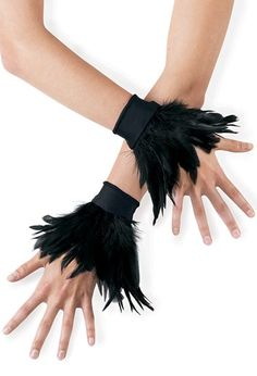 Black Feather Wrist Cuffs | Balera™