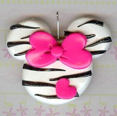 Black and Pink Zebra Striped Miss Mouse Polymer Clay Bow Centers
