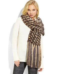 BELLE FARE Grey & Ivory Herringbone Real Mink Fur Scarf #objectsofdesire #scarves #century21stores