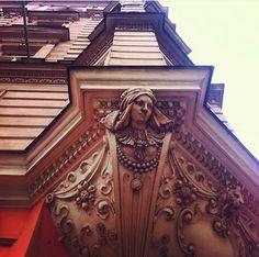 Always look up in Prague. Beautiful building facade near IP Pavlova.