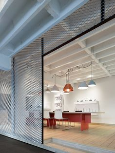 Alexander Fehre designed Movet Office Loft for manufacturer Movet across a single storey of an old industrial building in the town of Schorndorf, just outside Stuttgart.
