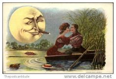 man in moon spies lovers in boat
