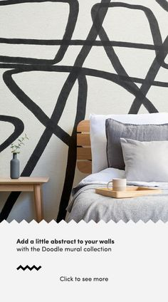 Create a bold feature wall that will add a unique aspect to your interior theme with the Bold Black and Beige Doodle Abstract Wallpaper Mural. How To Hang Wallpaper, Normal Wallpaper, Drawing Wallpaper, Blue Geometric Wallpaper, Modern Wallpaper, Cool Wallpaper, Abstract Line Art, Abstract Styles