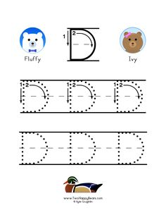 How to write the letter D, with large images to trace for practice, in free printable PDF format. Free Printable Alphabet Worksheets, Free Printables, To Trace, Letter Formation, Letter D, Large Letters, Center Ideas, Colorful Pictures, Preschool Activities