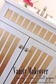 Easy, Naptime Vanity Makeover using Gold Contact paper! Diy Bathroom Vanity, Bathroom Ideas, Diy Recycle, Recycling, Gold Contact Paper, Beauty Room, Diy Organization, Dressers, Closer