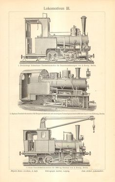 1904 Orginal Antique Engraving of Railway Vehicles, Locomotives Train Drawing, Lego For Kids, Antique Tools, Distinguish Between, Model Train Layouts, Train Car, Steam Engine, Steam Locomotive, Antique Prints