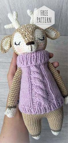 Mesmerizing Crochet an Amigurumi Rabbit Ideas. Lovely Crochet an Amigurumi Rabbit Ideas. Crochet Gratis, Crochet Amigurumi Free Patterns, Crochet Dolls, Knitting Patterns, Scarf Patterns, Knitting Toys, Crochet Deer, Cute Crochet, Crochet Baby