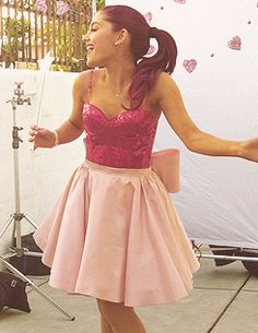 Ariana Grande; I love her sweet and innocent dresses, and I love how she portrays Cat on Victorious :)