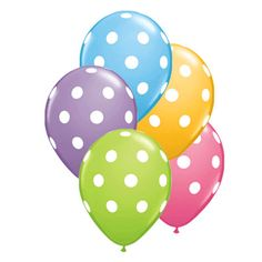 Looking for Polka Dot Balloons?  Find a fun variety here with brown, orange, green, pink latex and mylar balloons.