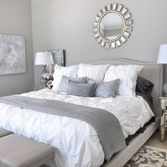 Awesome Fancy Small Master Bedroom Design Ideas For Small House. More at www. - Cazoz Diy Home Decor Small Master Bedroom, Master Bedroom Design, Bedroom Designs, Master Bedrooms, Bedroom Images, Bedroom Styles, Light Grey Bedrooms, Master Bedroom Color Ideas, Amazing Bedrooms
