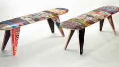 They don't give details how to make this; but I'm thinking this could be made with a table saw, around 10 skate boards, a piece of wood the length of your bench and wood glue.  Its kind of like a puzzle. :)