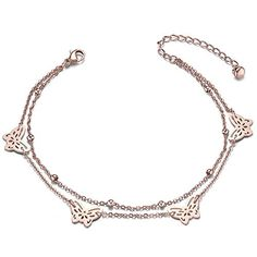 Sweetiee Titanium Steel Double Layered Anklet with Mini Stars Rose Gold 200mm for Woman Ew0hgYi