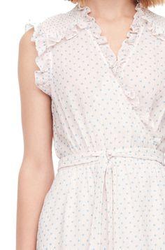 The Ikat Dot Print Silk Wrap Dress exudes a fun, nostalgic mood. Silk Wrap, Rebecca Taylor, Lace Design, Ikat, Ruffles, Wrap Dress, Feminine, Dresses, Woman