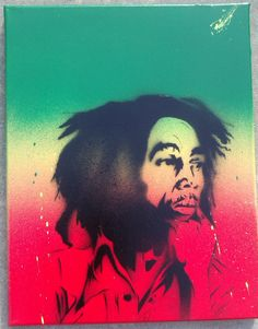 Bob Marley Original Stencil Aerosol Painting on Stretched Framed Canvas by Adam Valentino Original Paintings, Aerosol Paint, Canvas Frame, Artist, Paint Background, Canvas, Painting, Art For Sale, Stencils