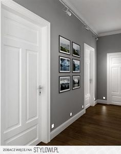 grey walls and m's photos in the hall