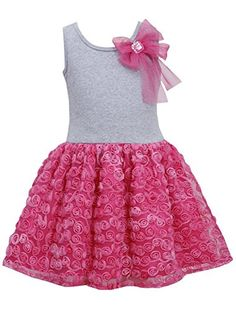 * TODDLER GIRL 2T-4T * Fuchsia-Pink Bow Shoulder Knit to Bonaz Rosette Mesh Overlay Dress FU2BU, Fuchsia, Bonnie Jean Toddler Girls 2T-4T Special Occasion Flower Girl Social Party Dress Bonnie Jean http://www.amazon.com/dp/B00KWM6NIE/ref=cm_sw_r_pi_dp_HZsMtb0VXE2HJFCS