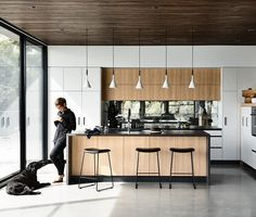 modern industrial style home with heart Industrial Kitchen Design, Kitchen Room Design, Modern Kitchen Design, Modern Industrial, Kitchen Decor, Interior Modern, Interior Design, Timber Panelling, Furniture Design