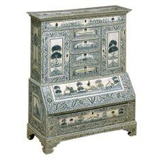Anglo Indian Ivory Large Miniature Bureau Cabinet Vizigapatam ca 1800