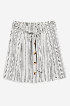 Striped Linen Paperbag Mini Skirt - Topshop USA