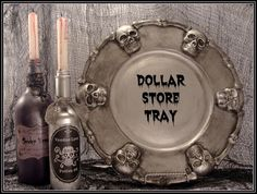 Dollar Store Skeleton Tray.  My friend made a stone look one for me last year...looks great!