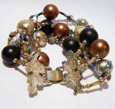 Vendome Glass Bead Bracelet Multi Strand Aurora Borealis Oak Leaf Black Brown Gold Silver Beads 216BGZ