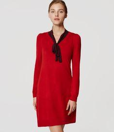 Primary Image of Petite V-Neck Swing Sweater Dress