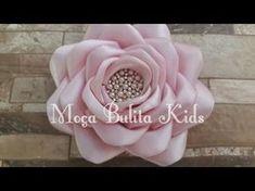 Faça você mesma: Rosa Grande de fita de cetim - Passo a Passo - Ribbon Flower - YouTube