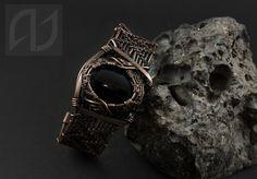 Wide Copper Cuff Woven Wire Wrapped Bracelet by KsandraJewelry