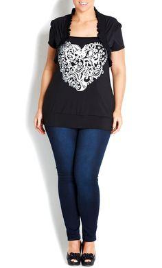 City Chic - SILVER HEART GRAFITTI SHRUG TOP - Women's plus size fashion #citychic #citychiconline #sweetsteals #plussize