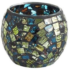 Teal/Green Mosaic Votive Holder from Pier 1 -> got a set to pick up the nice lime green accent color
