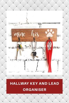 Rustic wall key and leash holder, DIY and Crafts, Do you struggle with tangled lead and constanlty misplaces keys? Our wooden holders may be a perfect solution to this problem. Perfect as a house warm. Gifts For Dog Owners, Dog Lover Gifts, Dog Gifts, Key Hooks For Wall, Wall Key Holder, Creative Gifts, Unique Gifts, Handmade Gifts, Handmade Items