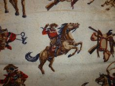 vintage cowboy fabric | Vintage Cowboy Novelty Print Fabric Red by EmbellishOnBroadway
