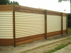 Corrugated Zincalume with 3 Balau Timber Slats on the Top and Bottom.