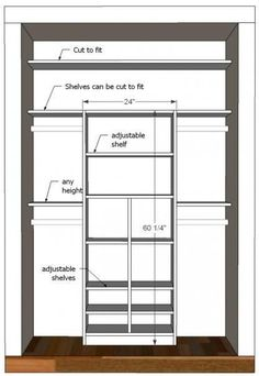 $20 - $50 bucks to build this? Awesome! Ana-White.com. Organizing Resolutions: Budget Friendly Organizing Ideas - Ask Anna Small Closet Redo, Small Bedroom Closets, Small Bedroom Layouts, Small Closet Storage, Small Closet Design, Build A Closet, Bedroom Office, Reach In Closet, Easy Closets